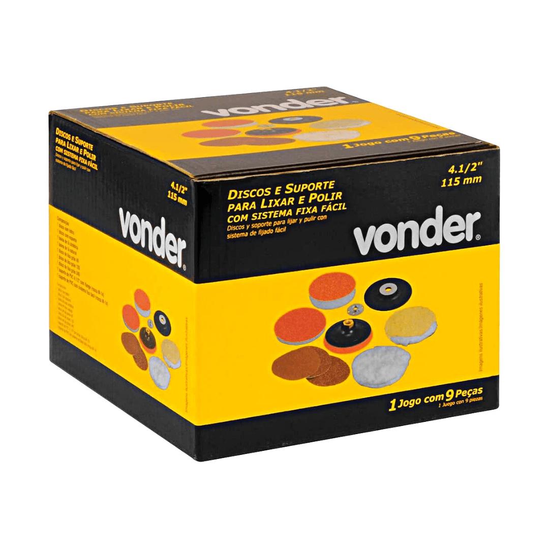 """Jogo de discos para lixar e polir 4.1/2"""" e suporte com pluma (sistema fixa fácil) Vonder"""