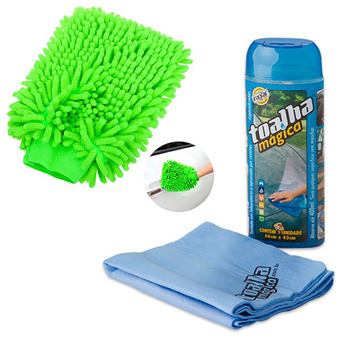 Kit 01 Luva microfibra automotiva e 01 toalha mágica