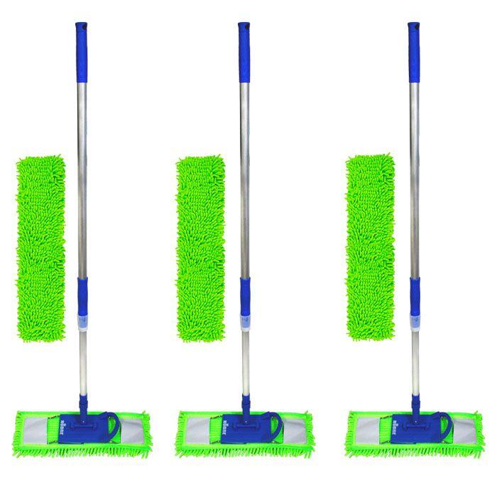 Kit 03 Vassouras mop tira pó 60cm + 03 refil