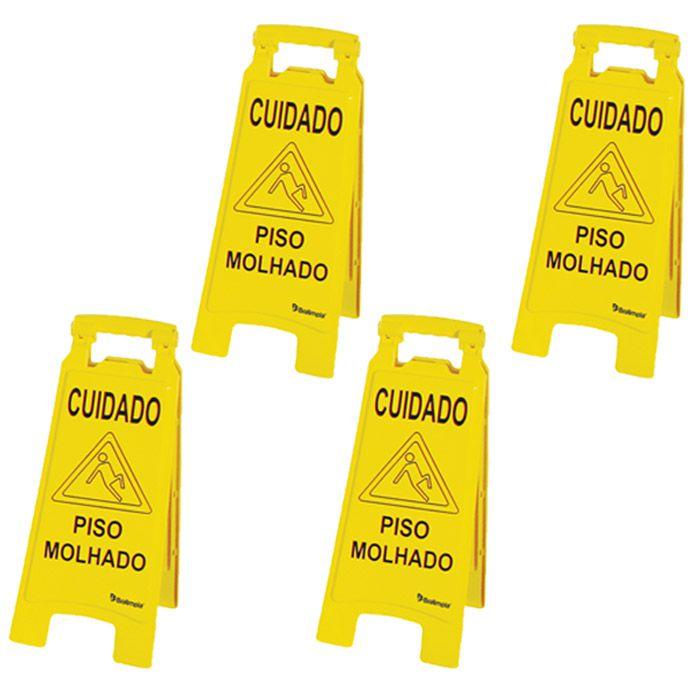 Kit 04 placas de sinalização para limpeza