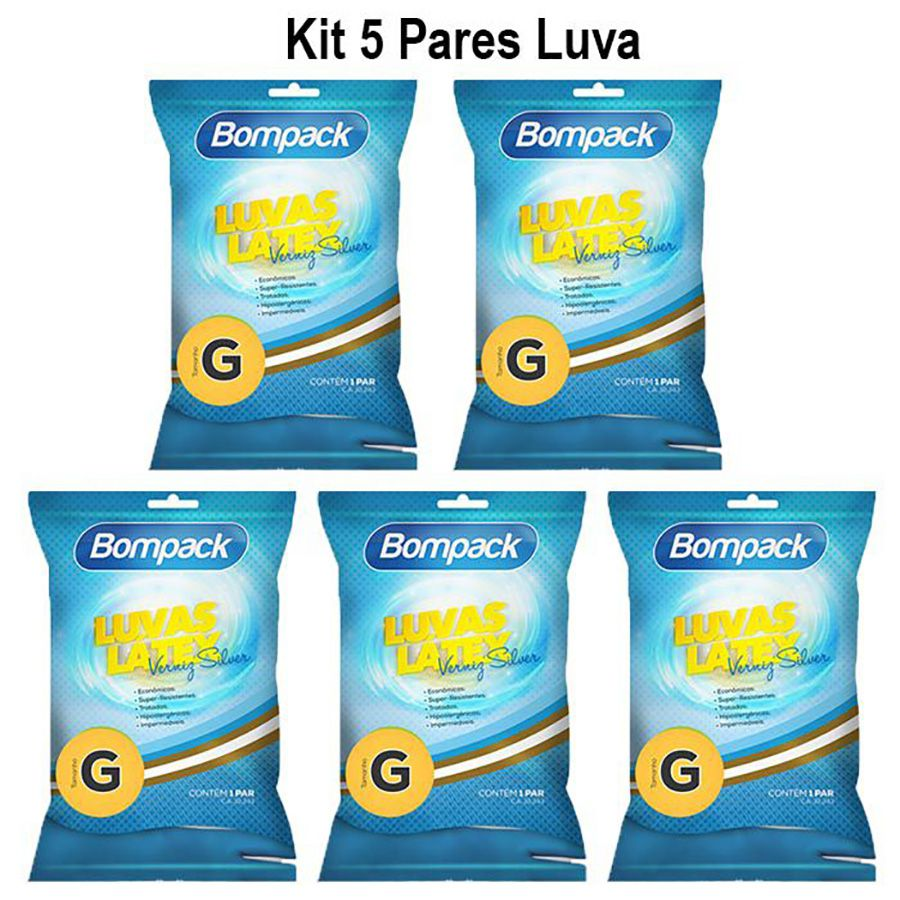 Kit 05 pares luva latex verniz silver tam G