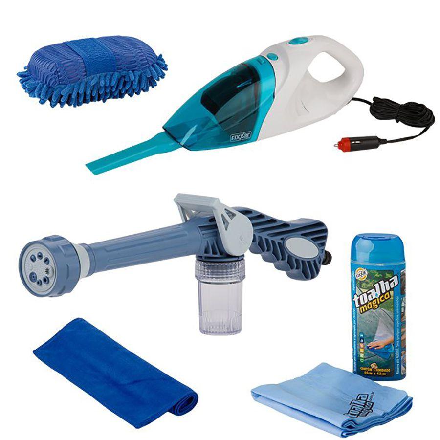 Kit Auto Esguicho, aspirador, luva, Toalha mágica e Microfibra
