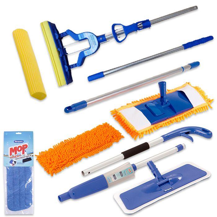 Kit C/ Refil Extra Spray Mop, Mop Tira Pó, Rodo Mágico Dobrável