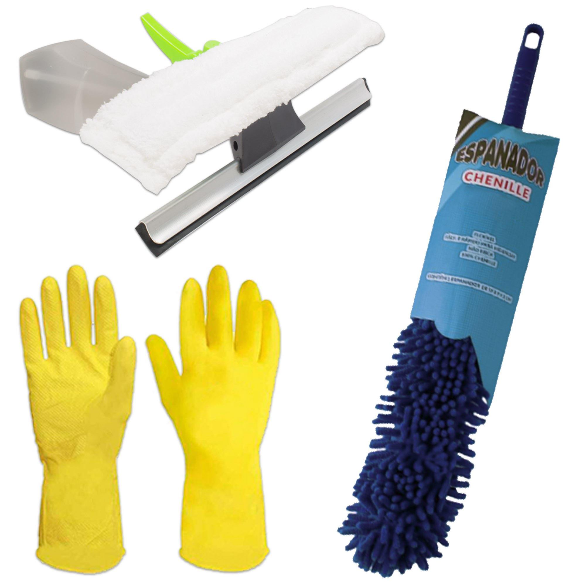 Kit Espanador Flexível, Borrifador Limpa Vidros e Luvas G