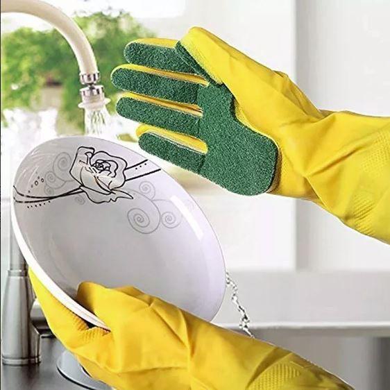 Luva Com Esponja Abrasiva Acoplada Lavar Louças Kit 3 Unid