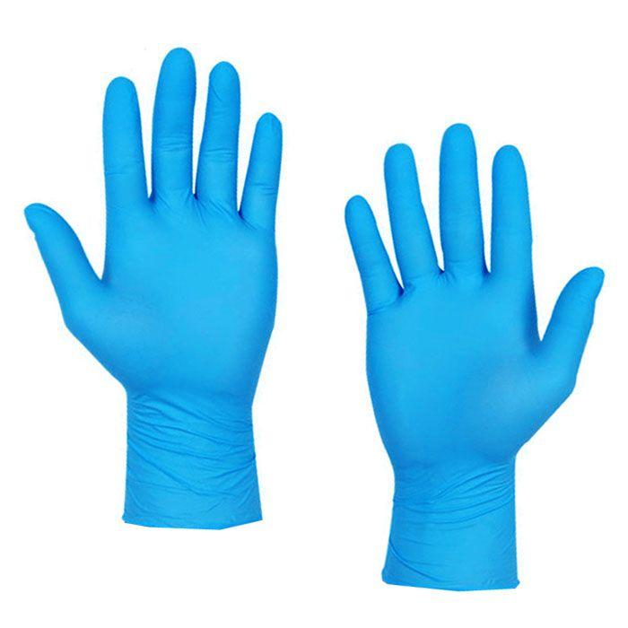 Luva Nitrílica Azul Sem Pó Tam M Com 100 Unid