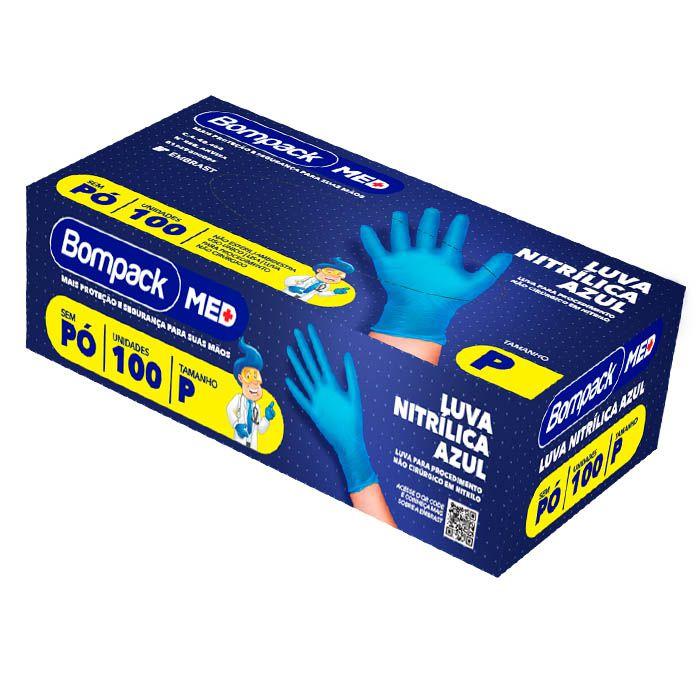 Luva Nitrílica Azul Sem Pó Tam P Com 100 Unid