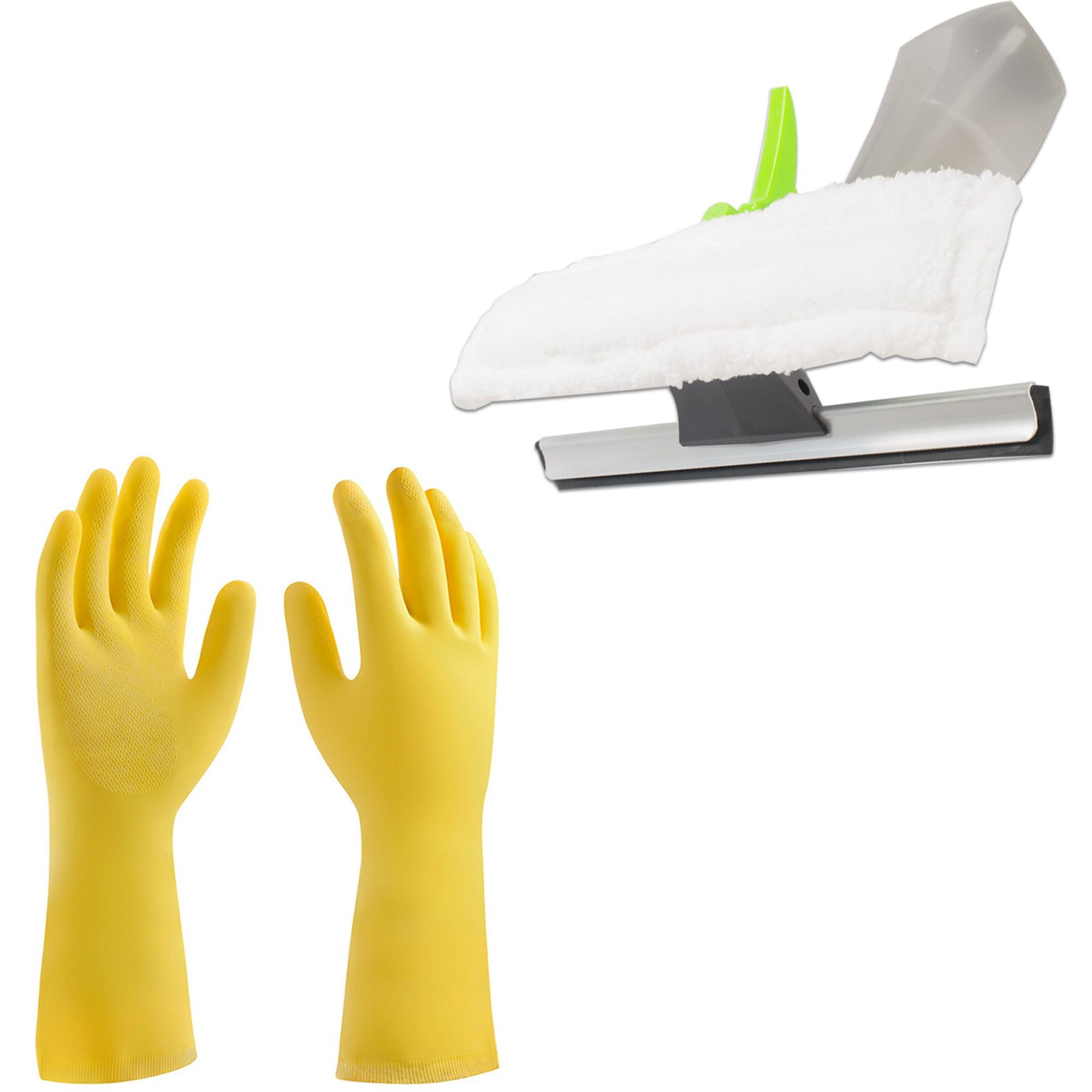 Mop Giratório C/ 3 Refis, Limpa Vidros Borrifador e Luva Látex