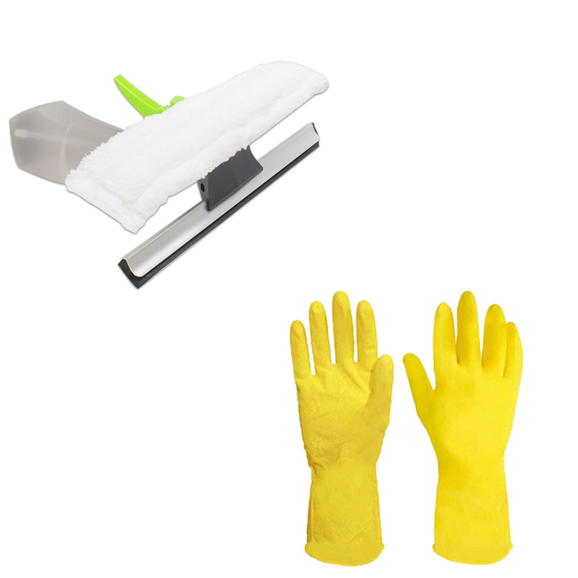 Mop Move Cesto Inox Rodas C/ 3 Refis, Limpa Vidros e Luvas