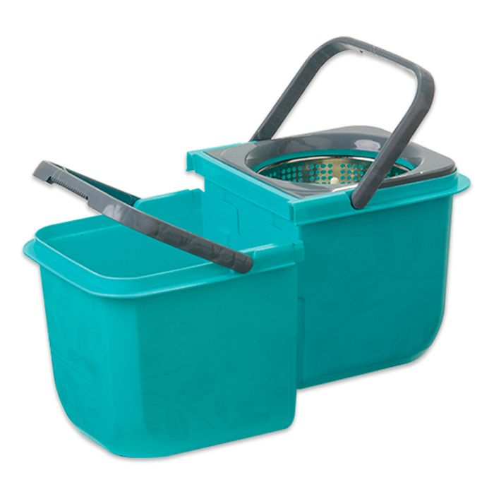 Mop Premium Limpeza Prática Mor Cesto Inox Com 2 Refil Esfregão e Toalha Mágica