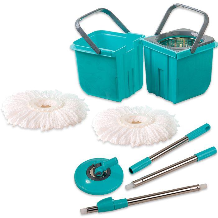 Mop Premium Limpeza Prática Mor Cesto Inox Com 2 Refis