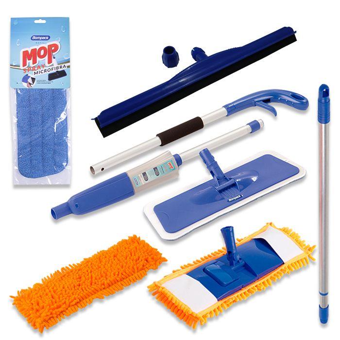 Mop Tira Pó Chenille e Spray Mop Com Refis, Rodo Borracha