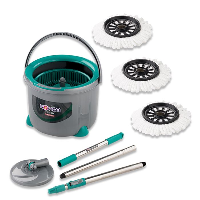 Mop Twister Noviça c/ 3 refil Microfibra
