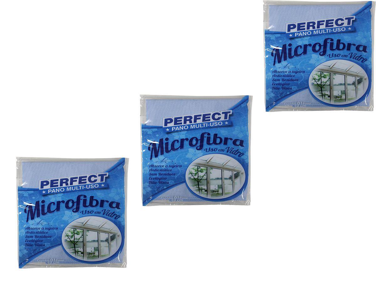 Pano Multiuso Limpa-Vidros Perfect Microfibra Kit 3 Unid