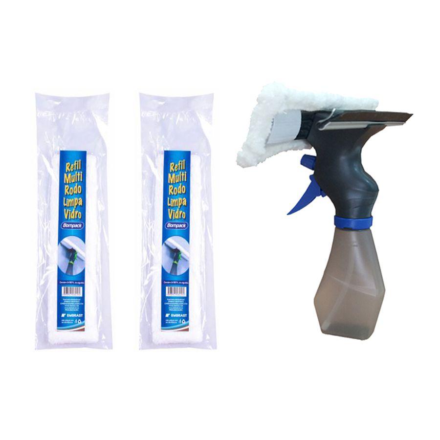 Rodo Limpa Vidros Com Spray Reservatório e 2 Refis Extra