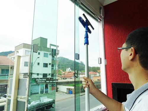 Rodo Limpa Vidros Telescópico Cabo Extensor 3,10 Mts Para Janelas Altas