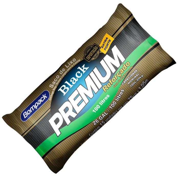 Saco De Lixo Black Premium Reforçado 100 Litros Com 10 Unid