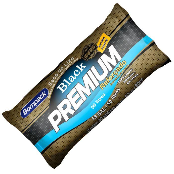 Saco De Lixo Black Premium Reforçado 50 Litros Com 30 Unid