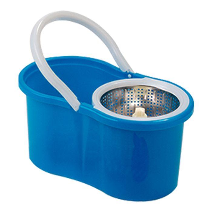 Spin Mop 360 Esfregão Cesto Inox com 2 refil Microfibra e 1 Refil Tira Pó
