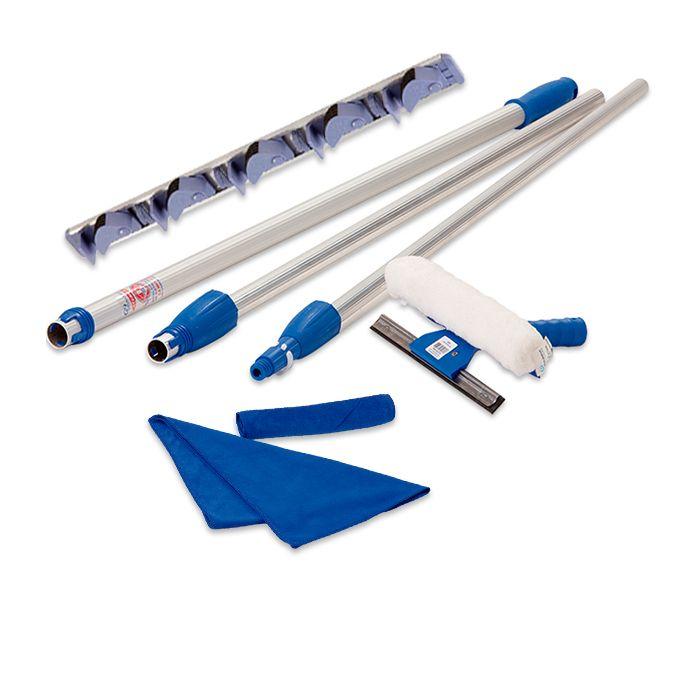 Suporte Organizador, Limpa Vidros Telescópico 3,10 Mts e Toalha Microfibra