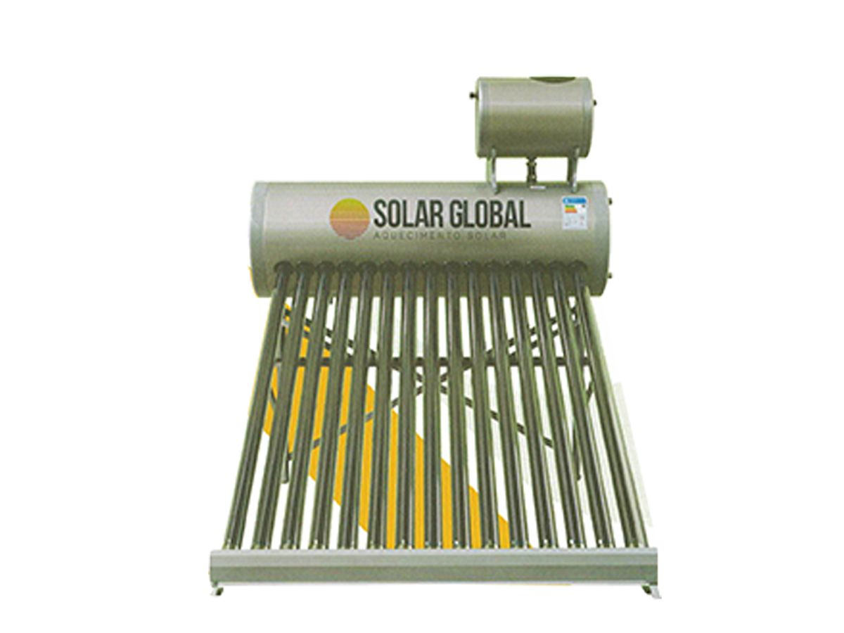 Aquecedor solar à vácuo 180 litros acoplado Solar Global