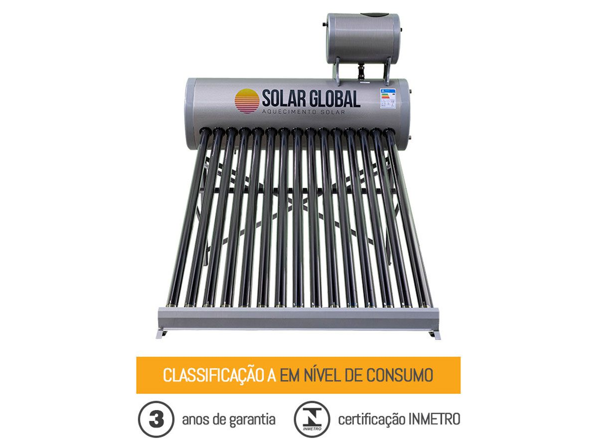 Aquecedor solar à vácuo 270 litros acoplado Solar Global