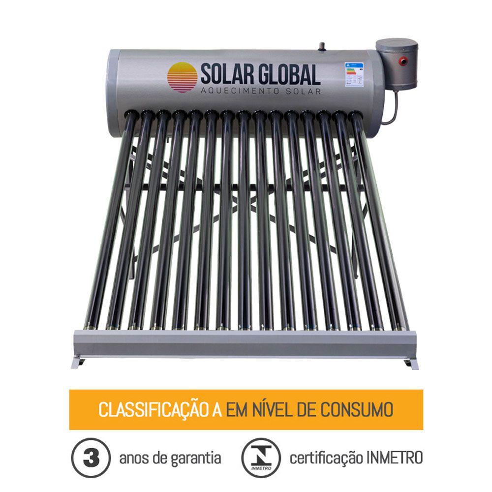 Aquecedor solar à vácuo 400 litros acoplado Solar Global