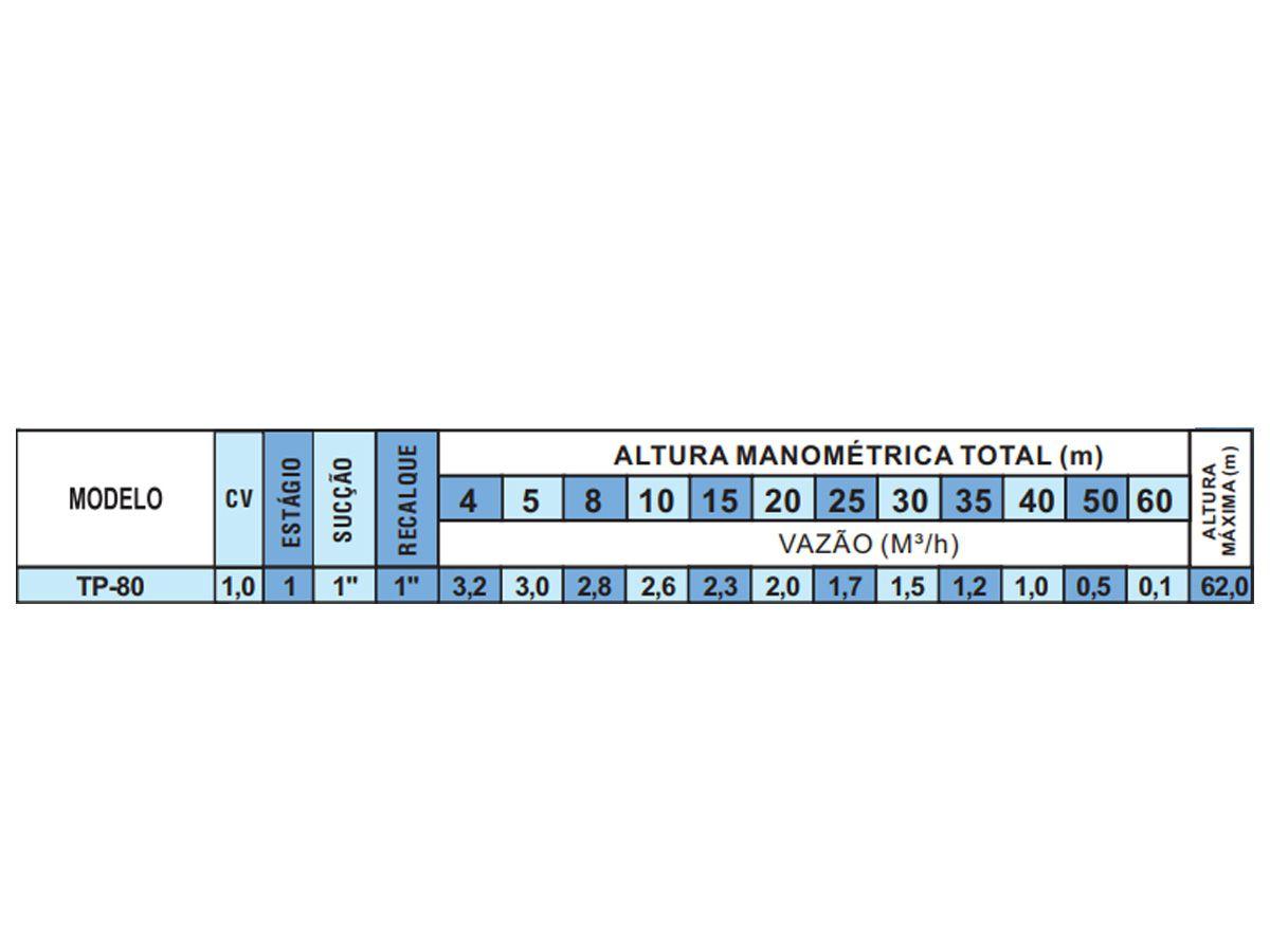 Bomba d'água Thebe TP-80 1 CV Monofásico IP44 127/220V