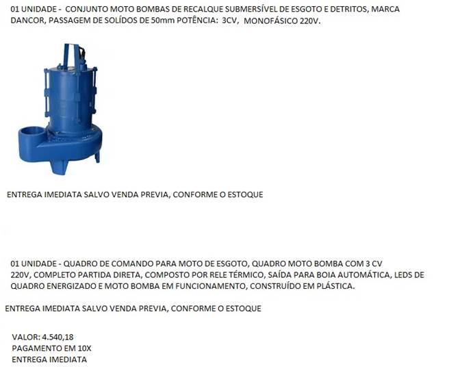 Conjunto Motobombas de Recalque Submersível de Esgoto + Boias - Dancor-  Vend. Ronan