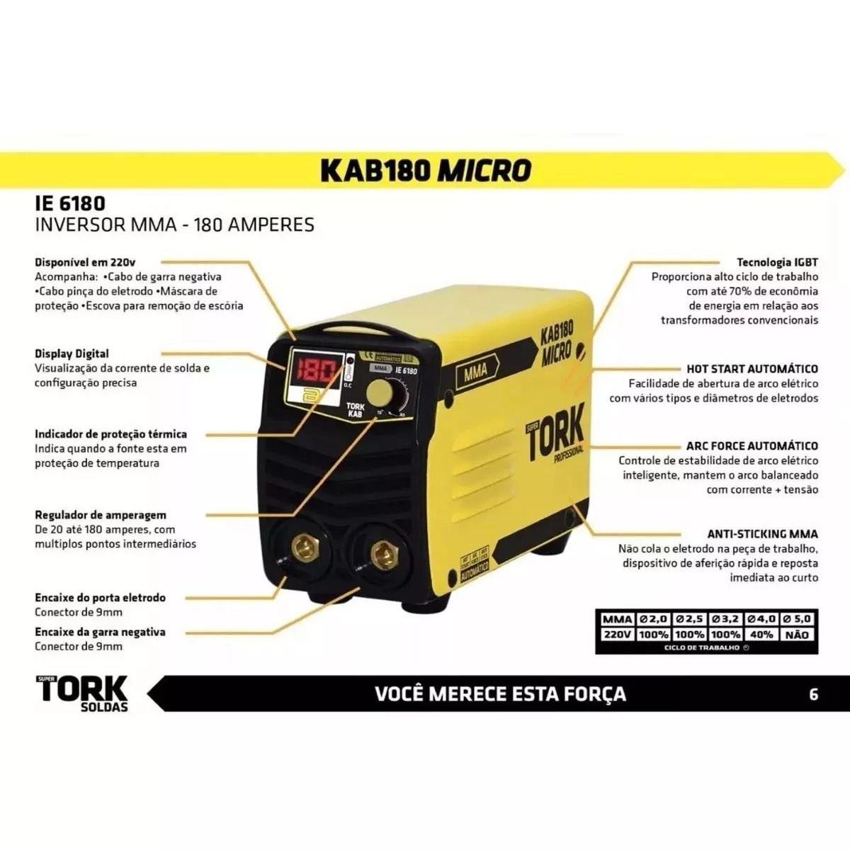 Maquina Solda Supertork Micro Kab Ie6180 + Máscara Msea901 Tork