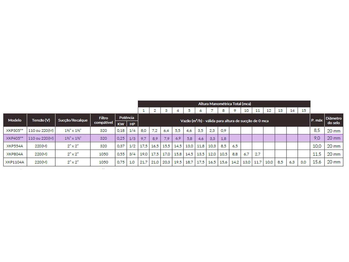 Motobomba para Piscina XKP 405 1/3 CV Monofásico Lepono