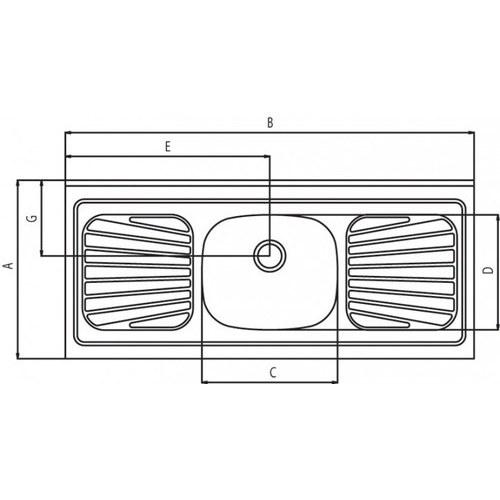 Pia Inox 1,20x52 Standard Raggi 40 S/ Valv 93041/506 Tramontina