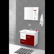 Conjunto Quality Banheiro 60cm C/esp. Branco/bordô Pç Fimap