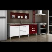Gabinete Cozinha Magnus 1,94M Branco/Bordô Pç Fimap