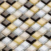 Pastilha de Vidro 30x30 Mini Lbg15mixbrown 1,5x1,5 La Bella