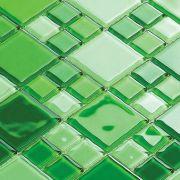 Pastilha de Vidro 30x30 Verde Lbg4823-MIXGREEN 2,3X2,3/4,8X4,8 La Bella