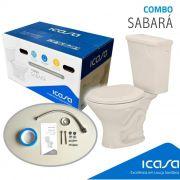 Sabara Kit de Vaso com Caixa Acoplada Areia (assento+rabicho+parafusos+anel Vedação) Icasa