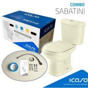 Sabatini Kit De Vaso Com Caixa Acoplada Areia (Assento+Rabicho+Parafusos+Anel Vedação) Icasa