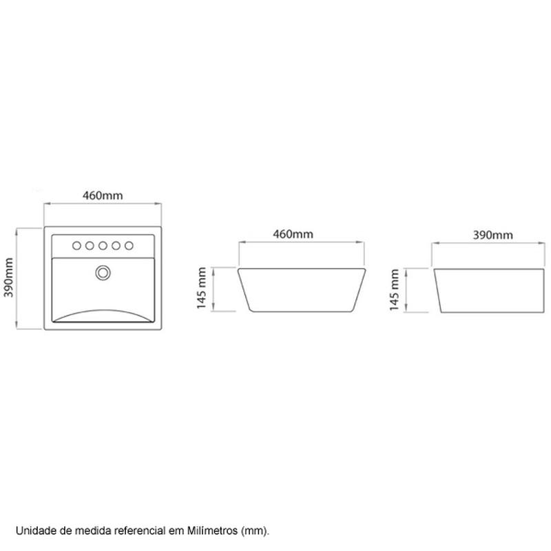 Cuba de Apoio Retangular Ica300 46x39 Branca Icasa