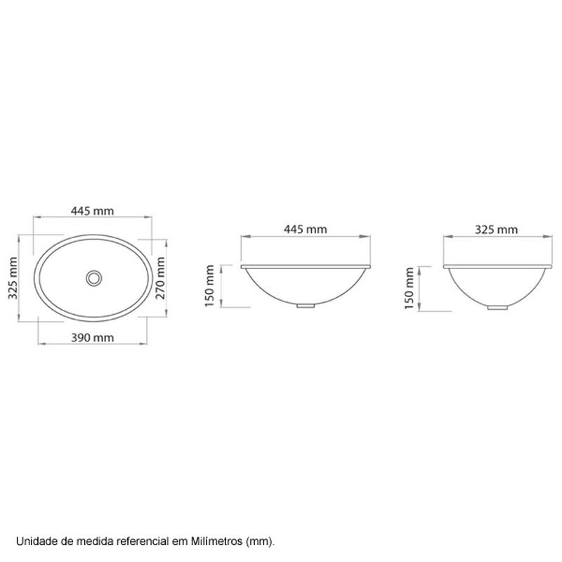Cuba de Sobrepor Oval Il6602 44x32 Areia Icasa