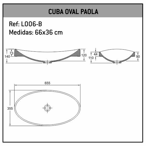 Cuba De Sobrepor/Embutir Oval Paola 66X36 L006-B Fabrimar