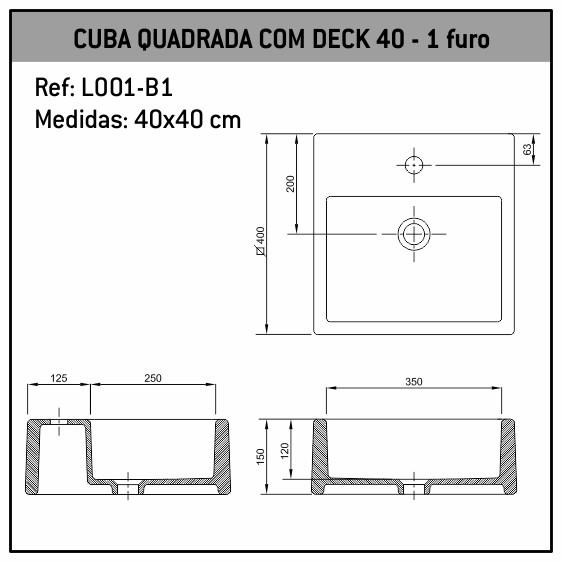 Cuba de Apoio Quadrada C/deck 40x40 1 Furo L001-B1 Fabrimar
