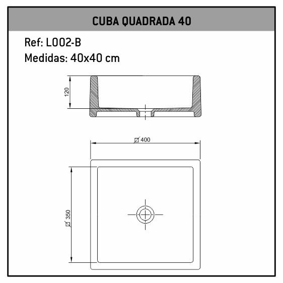 Cuba De Apoio Quadrada 40X40 L002-B Fabrimar