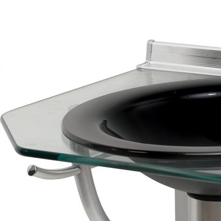 Lavabo Cris-glass Onix 55cm 943 Tampo e Cuba Vidro Cris
