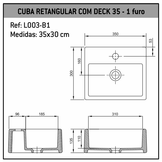 Cuba de Apoio Retangular Deck 35x30 L003-B1 Fabrimar