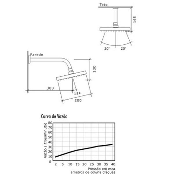 Chuveiro Viscaya Quadrado 20cm Cromado 1990-VIS-Q20-CR Fabrimar
