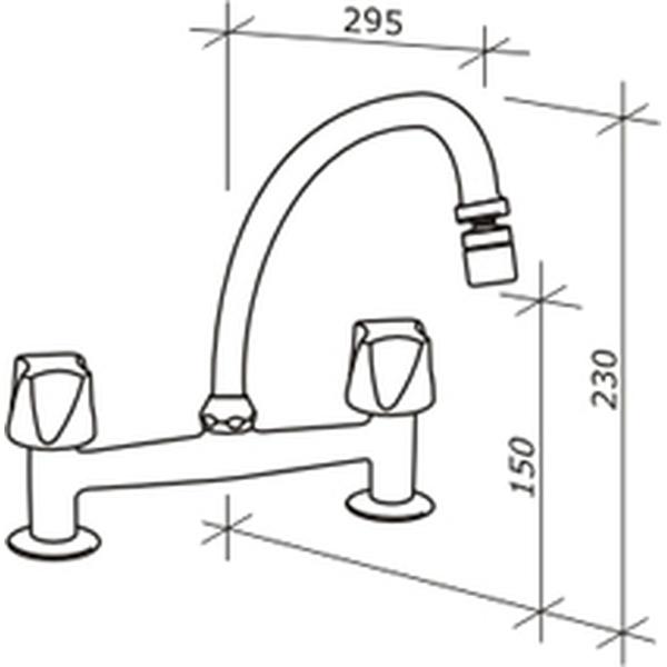 Digital Line Misturador De Cozinha Banca Cromado 1256-Dl-Cr Fabrimar