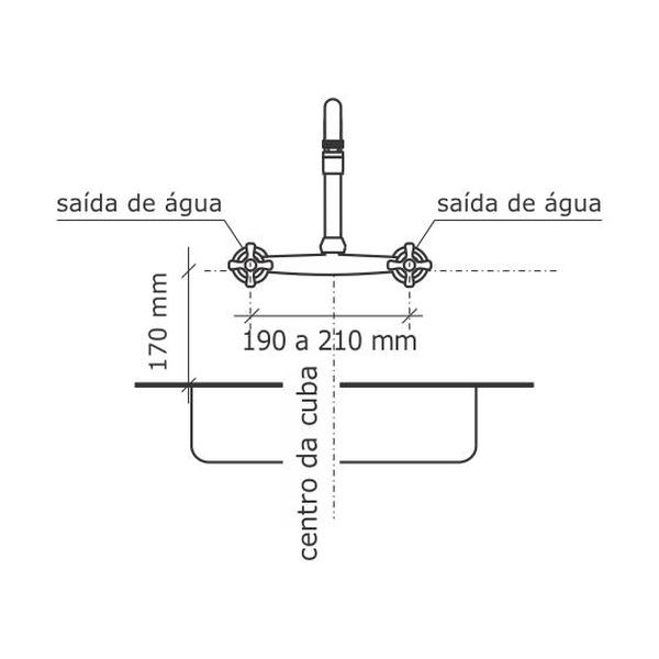 Digital Line Misturador De Cozinha Parede Tubo Cromado 1258-Dl-Cr Fabrimar