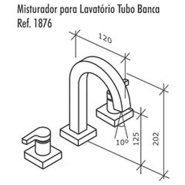 Misturador de Lavatório Creato Cromado C-1876-CRE-CR Fabrimar