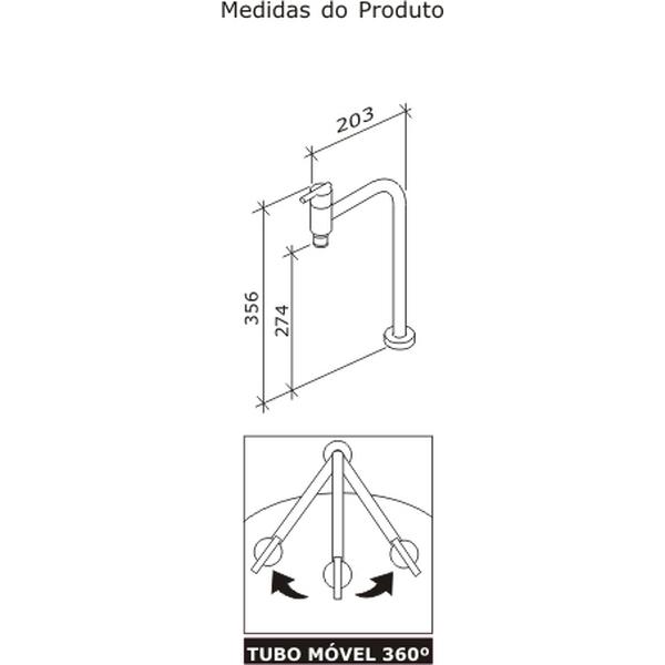 Torneira de Cozinha Gioia Banca Alta Movel 90º Cromado Dn15 1/2 1166-GIO-CR Fabrimar
